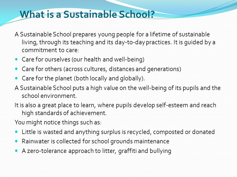 What is a Sustainable School