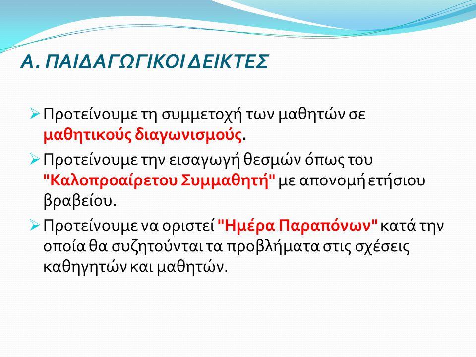 Α. ΠΑΙΔΑΓΩΓΙΚΟΙ ΔΕΙΚΤΕΣ