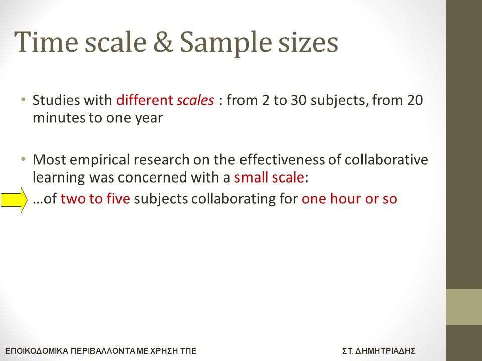 Time scale & Sample sizes