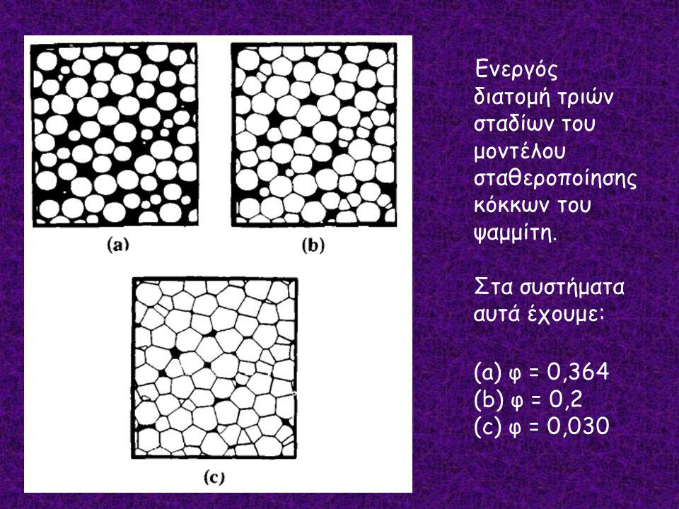 Ενεργός διατομή τριών σταδίων του μοντέλου σταθεροποίησης κόκκων του ψαμμίτη.