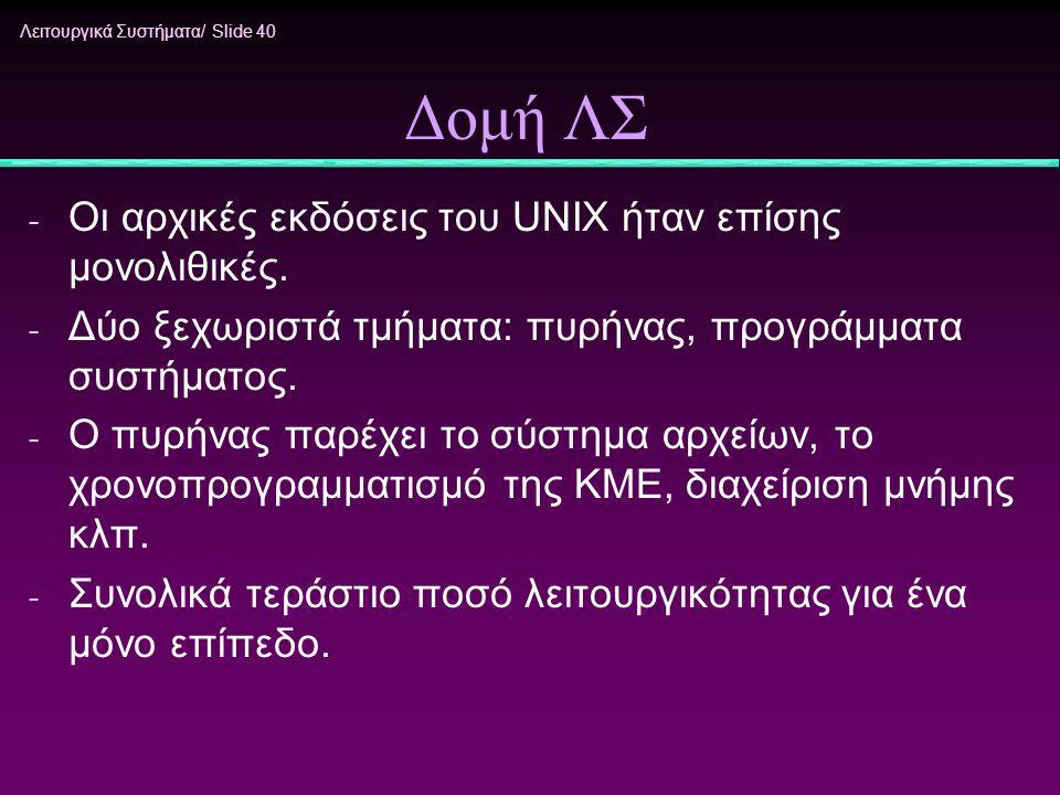 Δομή ΛΣ Οι αρχικές εκδόσεις του UNIX ήταν επίσης μονολιθικές.
