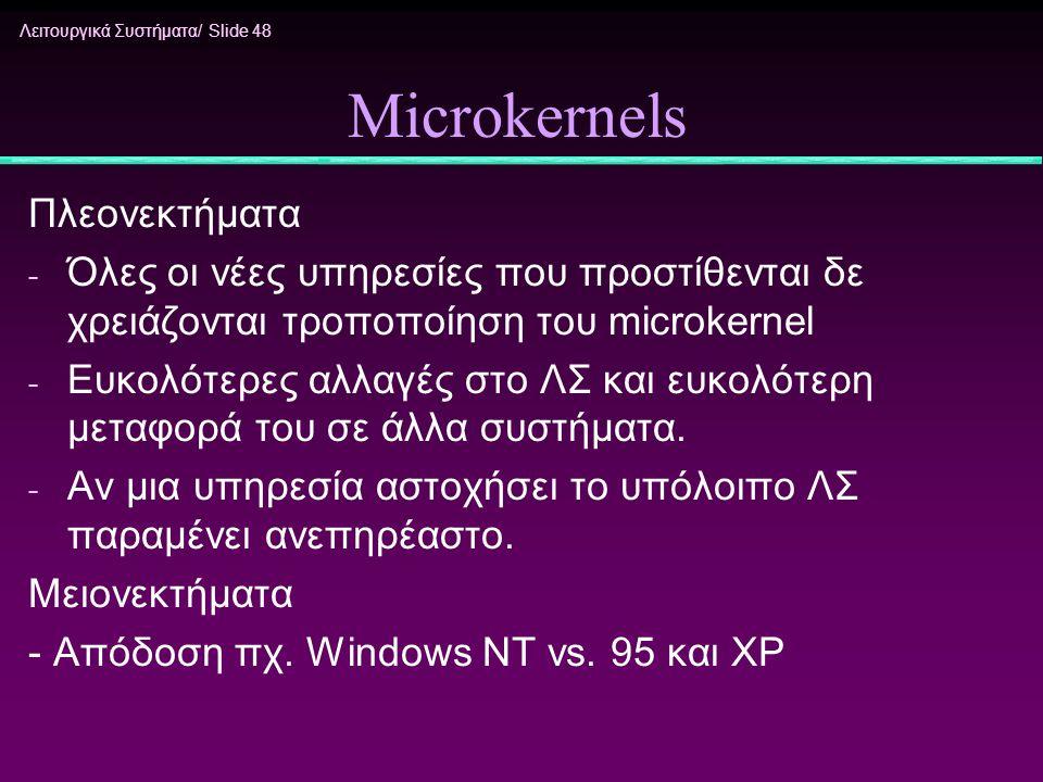 Microkernels Πλεονεκτήματα