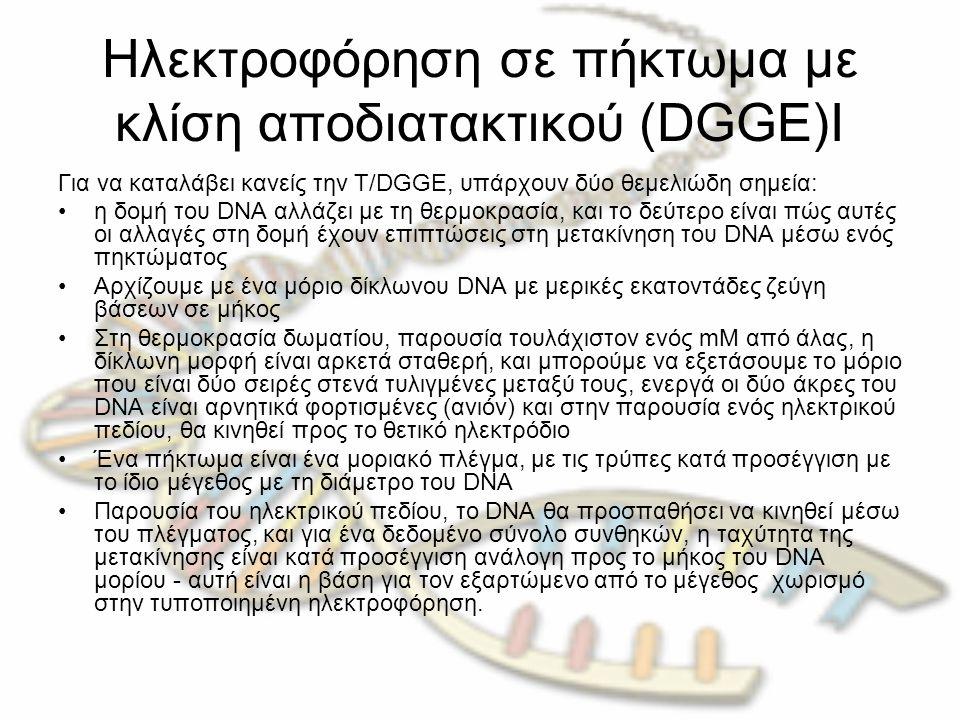 Ηλεκτροφόρηση σε πήκτωμα με κλίση αποδιατακτικού (DGGE)Ι