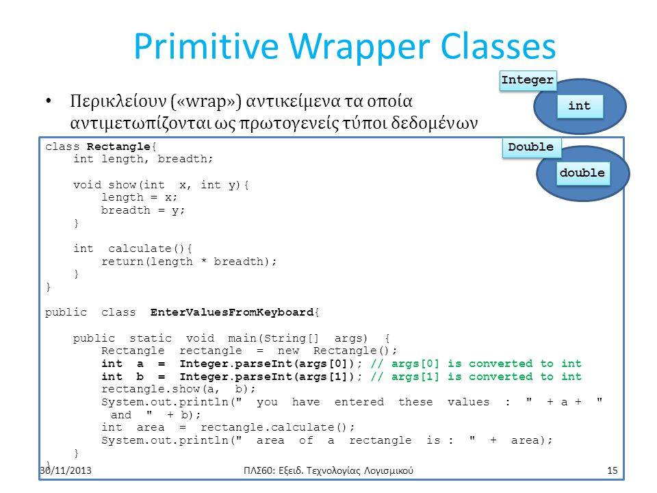 Primitive Wrapper Classes