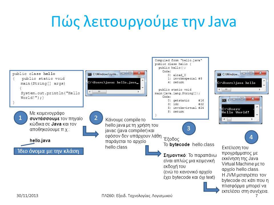 Πώς λειτουργούμε την Java