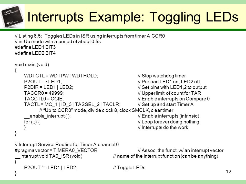 Interrupts Example: Toggling LEDs