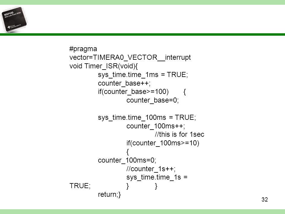 #pragma vector=TIMERA0_VECTOR__interrupt void Timer_ISR(void){