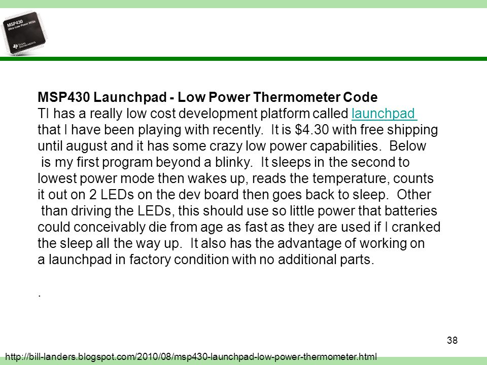 MSP430 Launchpad - Low Power Thermometer Code