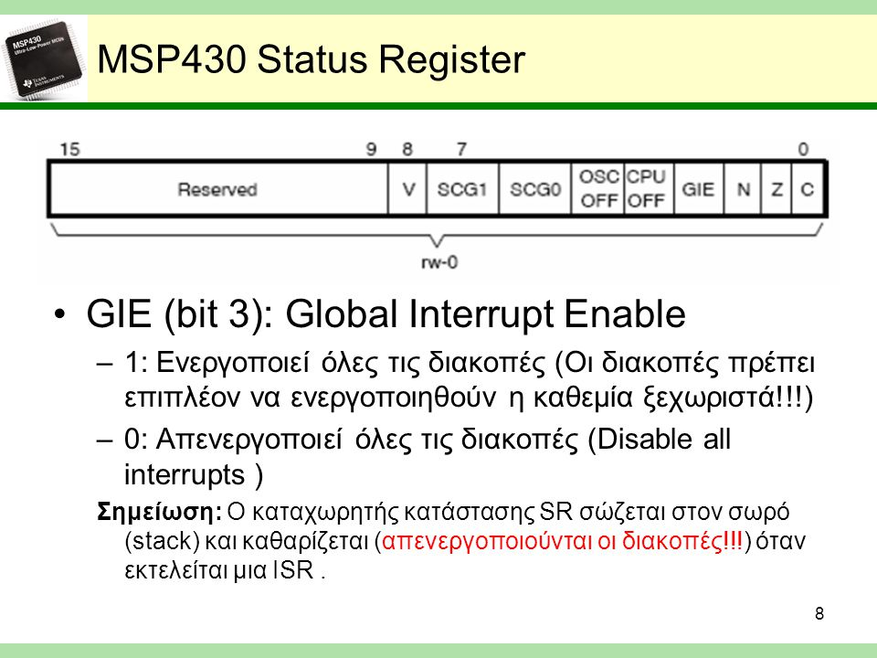 GIE (bit 3): Global Interrupt Enable