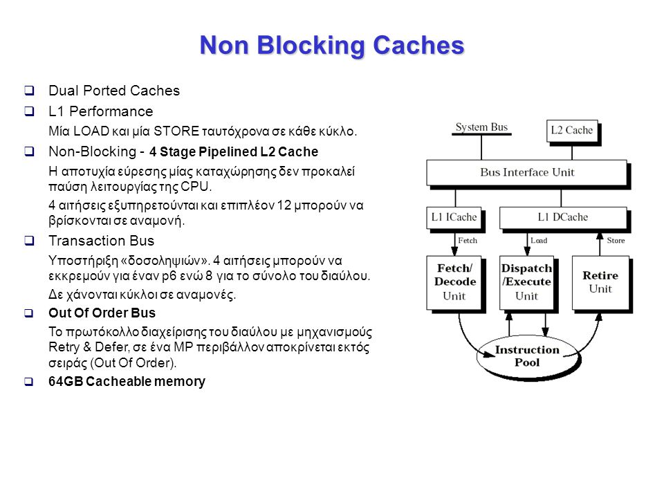 Non Blocking Caches Dual Ported Caches L1 Performance