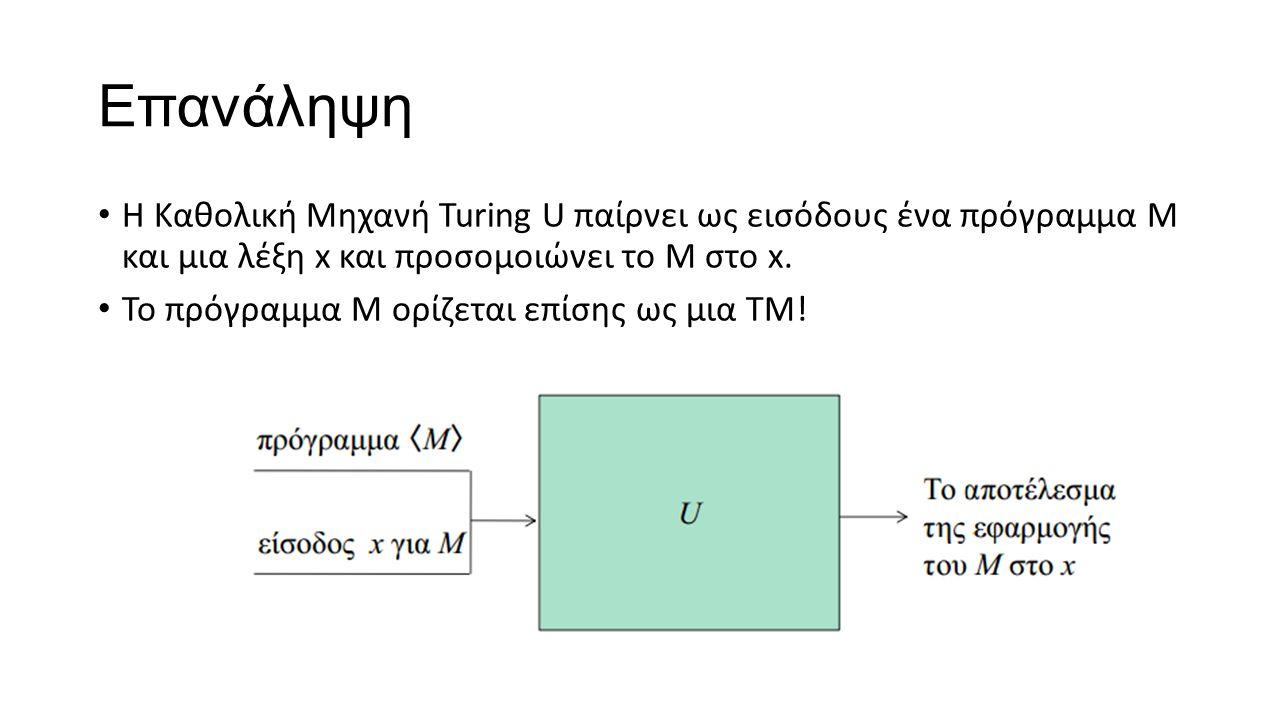 Επανάληψη Η Καθολική Μηχανή Turing U παίρνει ως εισόδους ένα πρόγραμμα Μ και μια λέξη x και προσομοιώνει το Μ στο x.