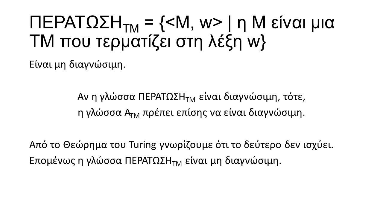 ΠΕΡΑΤΩΣΗΤΜ = {<Μ, w> | η Μ είναι μια ΤΜ που τερματίζει στη λέξη w}