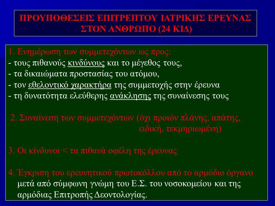 ΠΡΟΥΠΟΘΕΣΕΙΣ ΕΠΙΤΡΕΠΤΟΥ ΙΑΤΡΙΚΗΣ ΕΡΕΥΝΑΣ