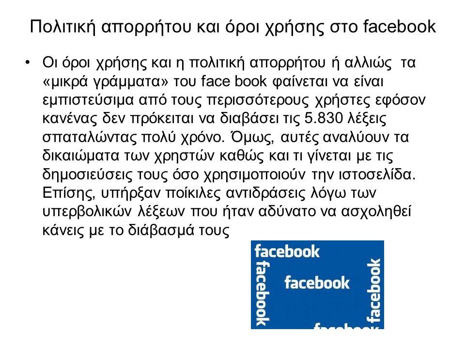 Πολιτική απορρήτου και όροι χρήσης στο facebook