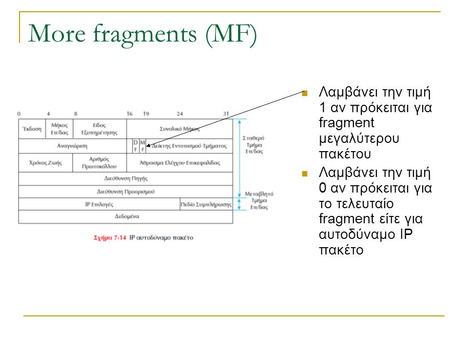 More fragments (MF) Λαμβάνει την τιμή 1 αν πρόκειται για fragment μεγαλύτερου πακέτου.