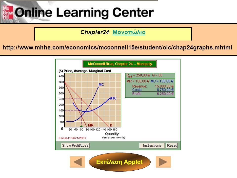 Chapter24: Μονοπώλιο http://www.mhhe.com/economics/mcconnell15e/student/olc/chap24graphs.mhtml.
