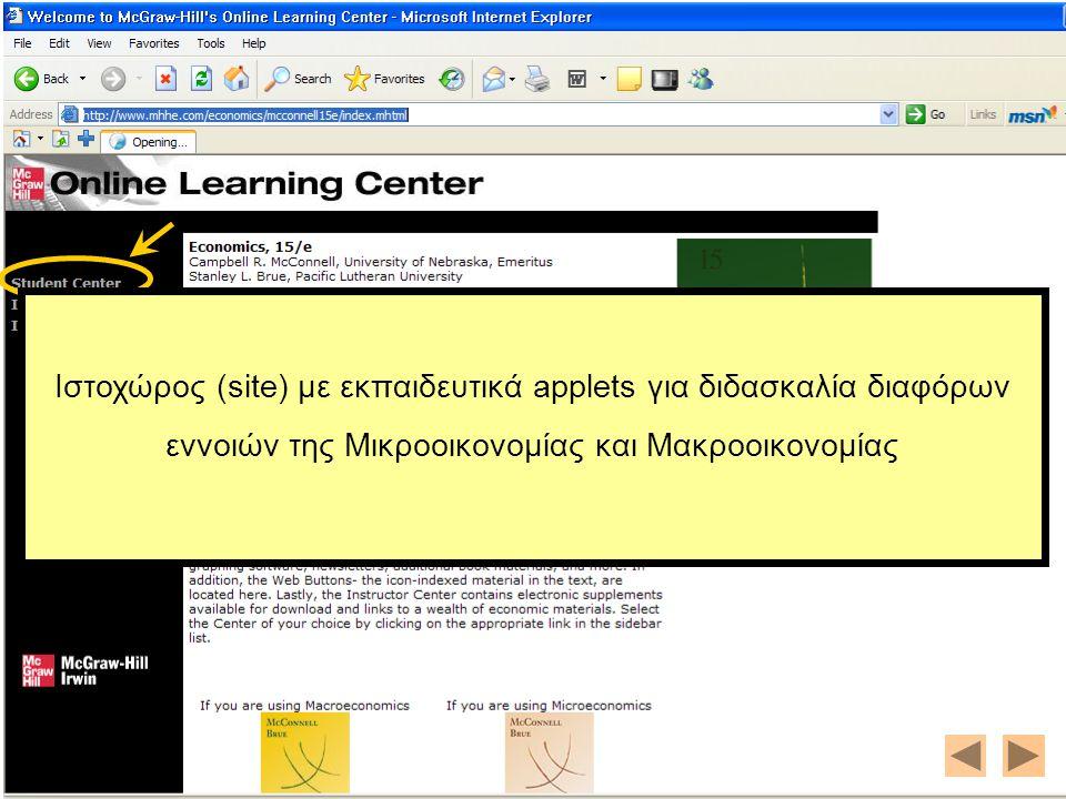 Ιστοχώρος (site) με εκπαιδευτικά applets για διδασκαλία διαφόρων εννοιών της Μικροοικονομίας και Μακροοικονομίας