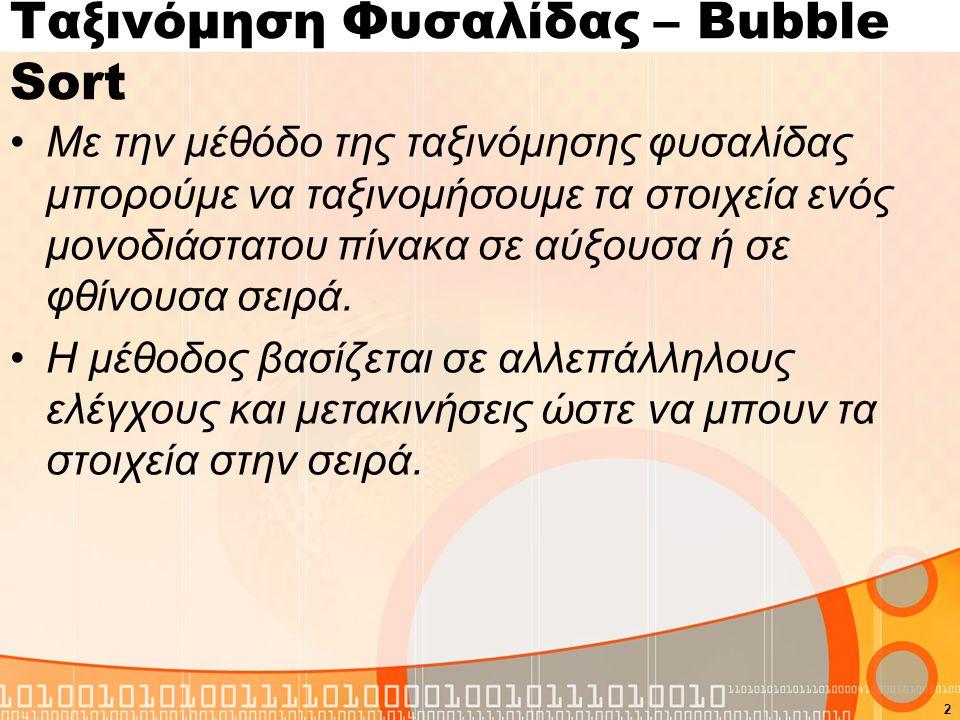 Ταξινόμηση Φυσαλίδας – Bubble Sort