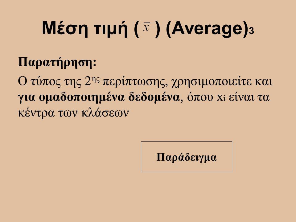 Μέση τιμή ( ) (Average)3 Παρατήρηση: