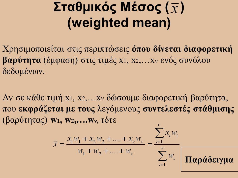 Σταθμικός Μέσος ( ) (weighted mean)