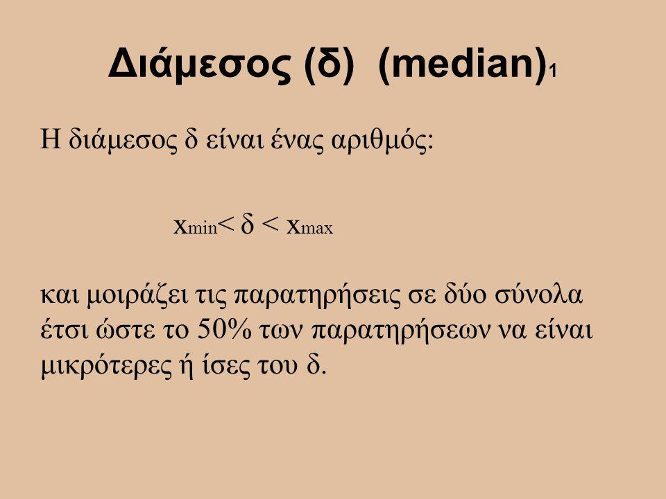 Διάμεσος (δ) (median)1 Η διάμεσος δ είναι ένας αριθμός: