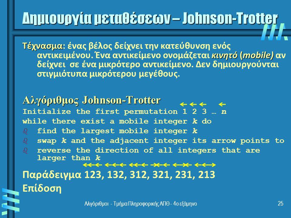 Δημιουργία μεταθέσεων – Johnson-Trotter