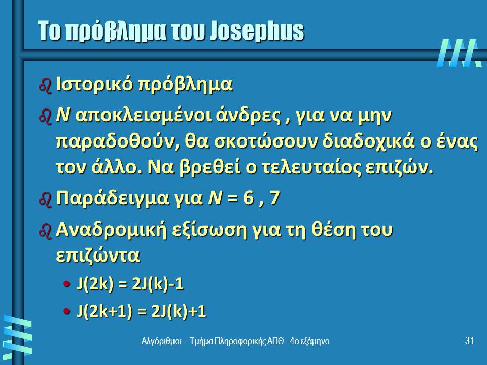 Το πρόβλημα του Josephus