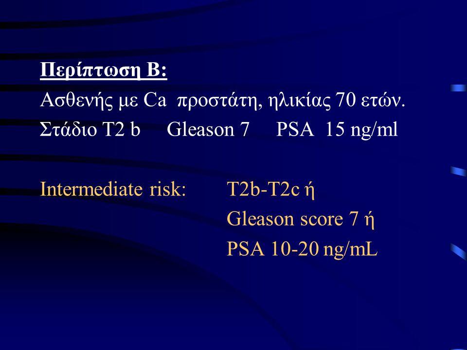 Περίπτωση Β: Ασθενής με Ca προστάτη, ηλικίας 70 ετών. Στάδιο Τ2 b Gleason 7 PSA 15 ng/ml.