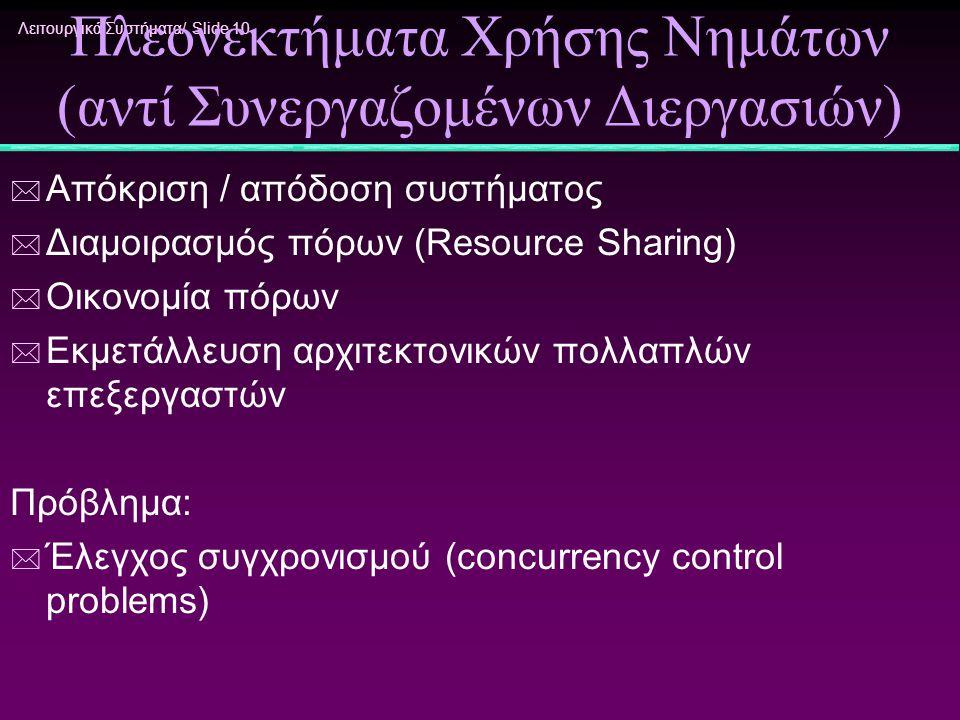 Πλεονεκτήματα Χρήσης Νημάτων (αντί Συνεργαζομένων Διεργασιών)