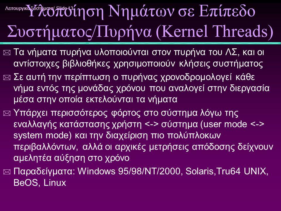 Υλοποίηση Νημάτων σε Επίπεδο Συστήματος/Πυρήνα (Kernel Threads)
