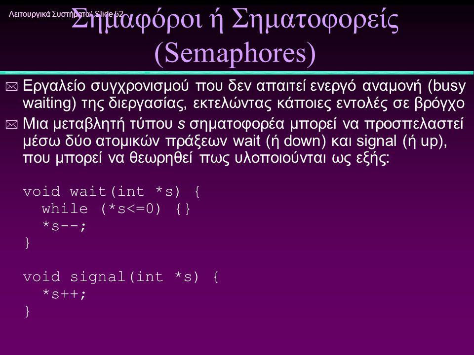 Σημαφόροι ή Σηματοφορείς (Semaphores)