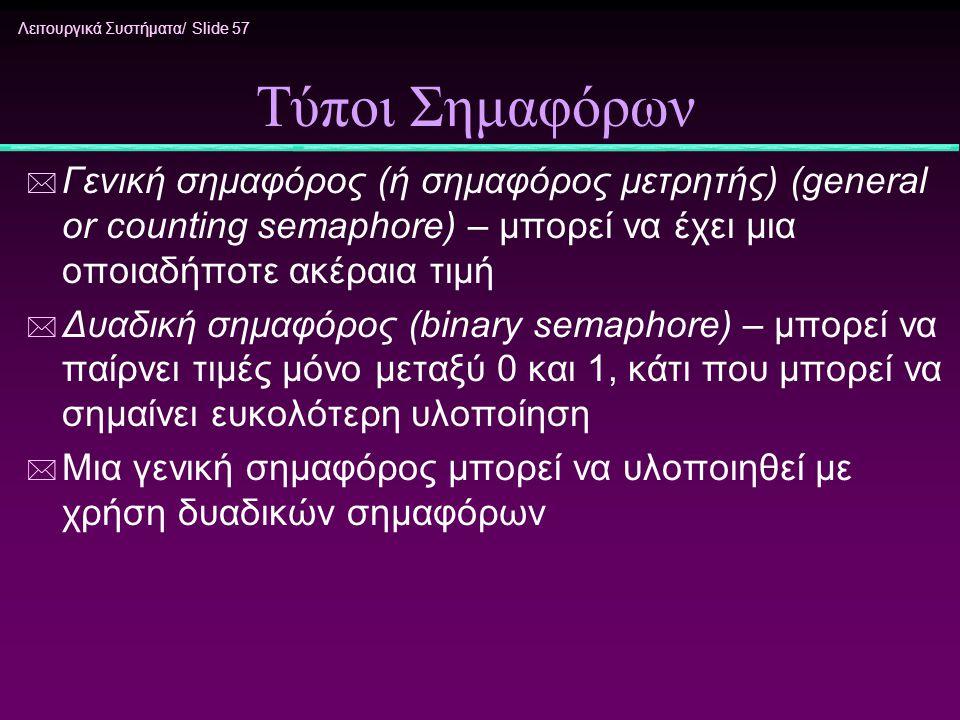 Τύποι Σημαφόρων Γενική σημαφόρος (ή σημαφόρος μετρητής) (general or counting semaphore) – μπορεί να έχει μια οποιαδήποτε ακέραια τιμή.