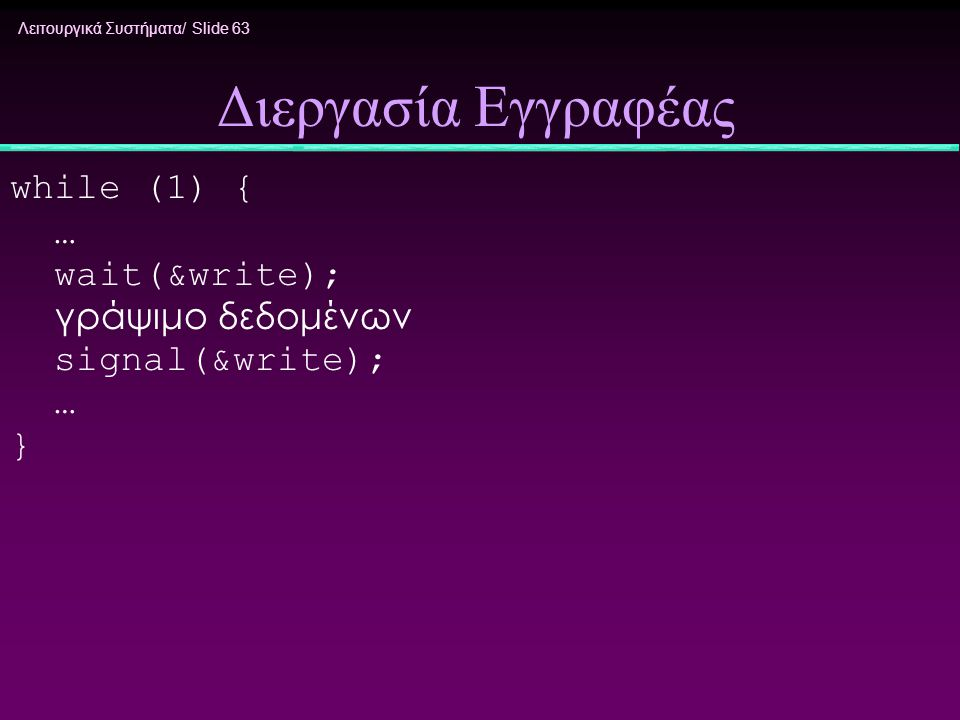 Διεργασία Εγγραφέας while (1) { … wait(&write); γράψιμο δεδομένων