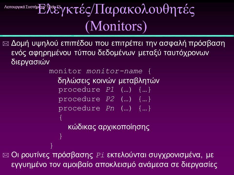 Ελεγκτές/Παρακολουθητές (Monitors)
