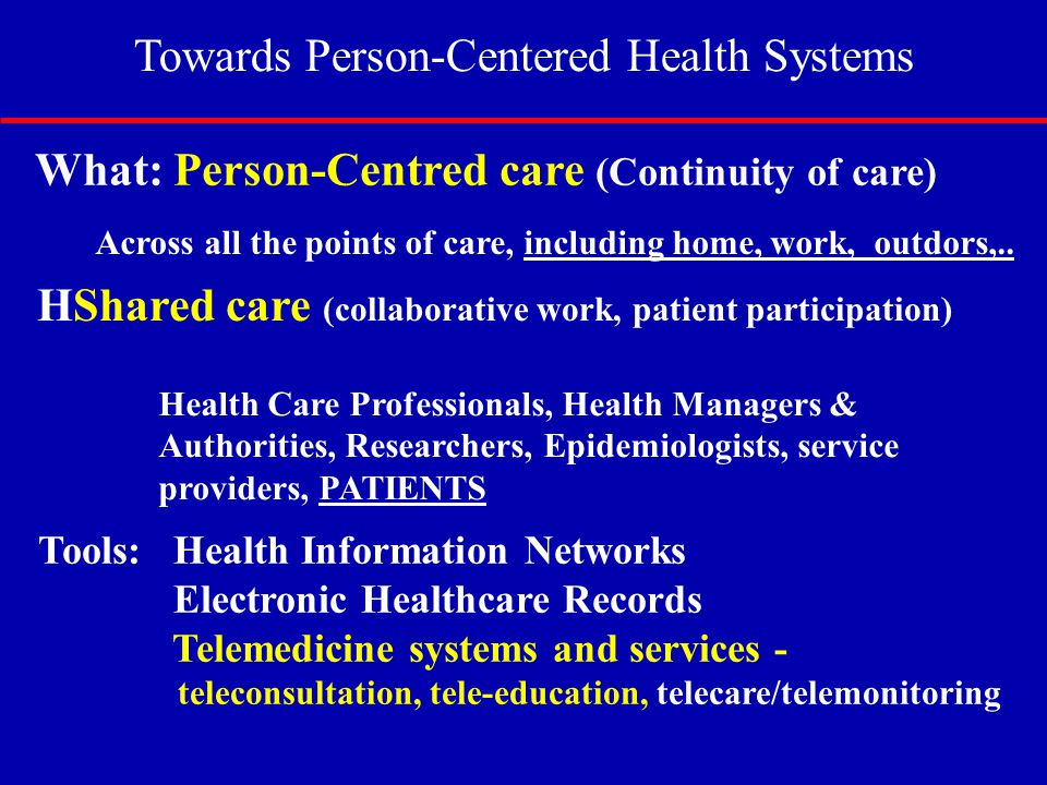 Towards Person-Centered Health Systems
