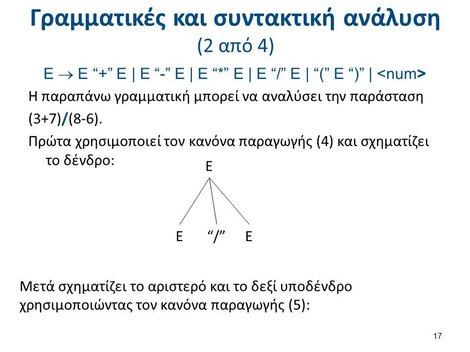 Γραμματικές και συντακτική ανάλυση (3 από 4)
