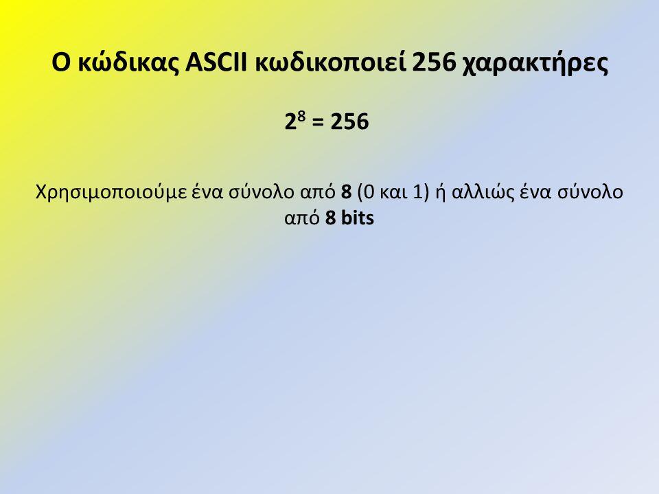 Ο κώδικας ASCII κωδικοποιεί 256 χαρακτήρες