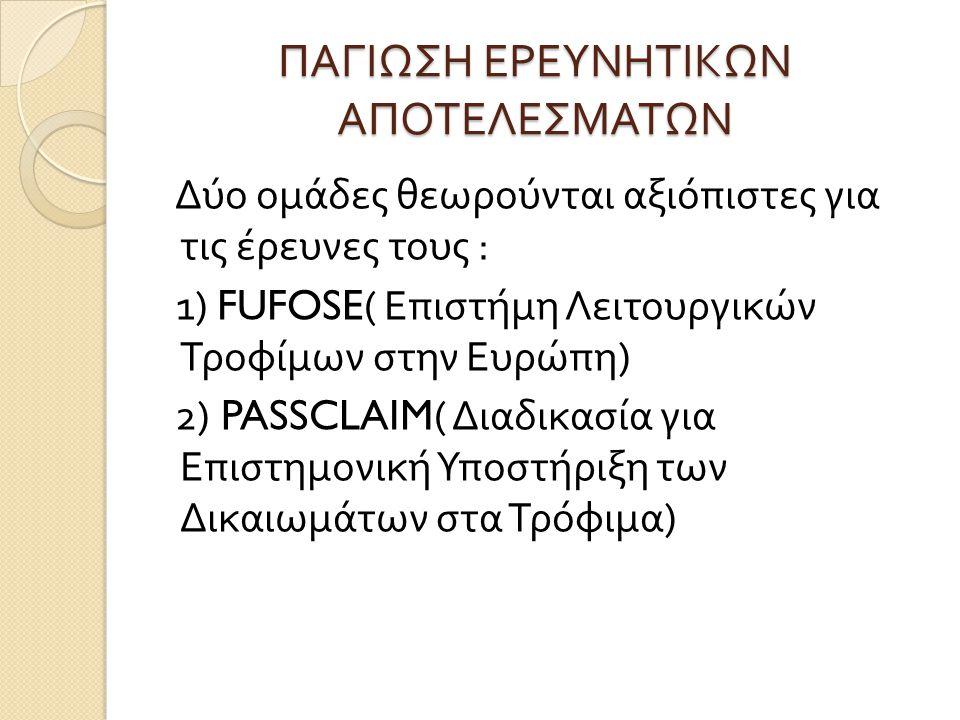 ΠΑΓΙΩΣΗ ΕΡΕΥΝΗΤΙΚΩΝ ΑΠΟΤΕΛΕΣΜΑΤΩΝ