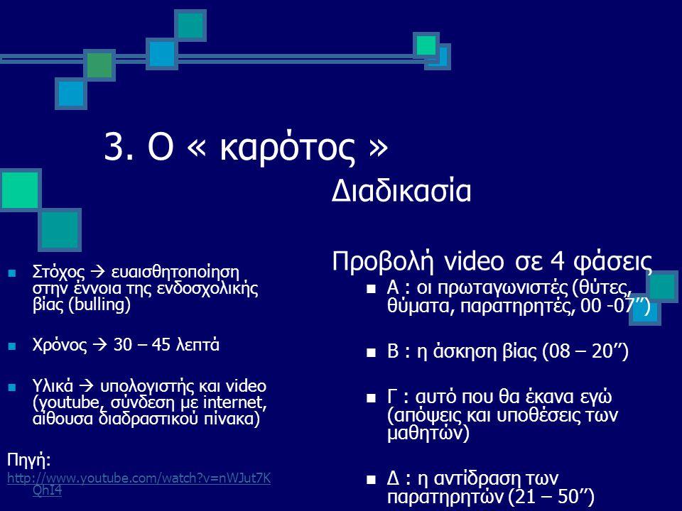 3. Ο « καρότος » Διαδικασία Προβολή video σε 4 φάσεις