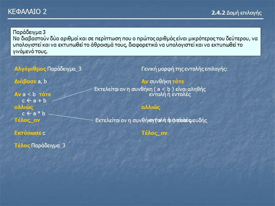 ΚΕΦΑΛΑΙΟ 2 2.4.2 Δομή επιλογής Παράδειγμα 3