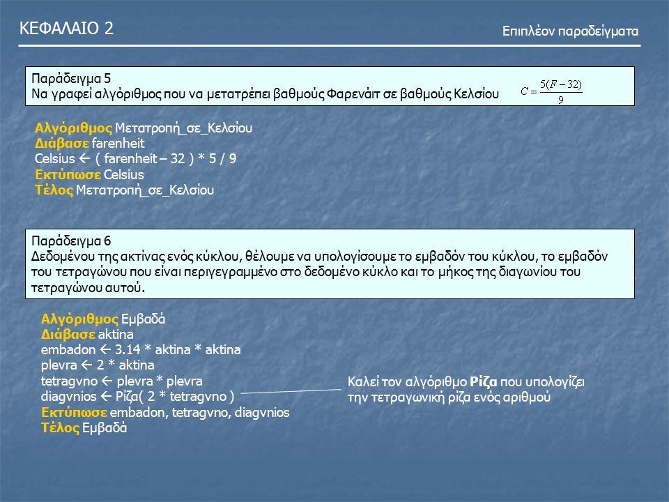 ΚΕΦΑΛΑΙΟ 2 Επιπλέον παραδείγματα Παράδειγμα 5