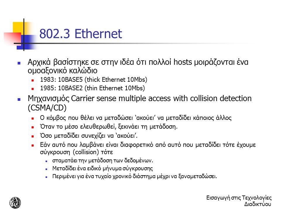 802.3 Ethernet Αρχικά βασίστηκε σε στην ιδέα ότι πολλοί hosts μοιράζονται ένα ομοαξονικό καλώδιο. 1983: 10BASE5 (thick Ethernet 10Mbs)