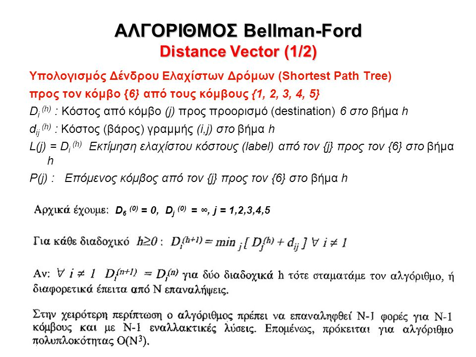 ΑΛΓΟΡΙΘΜΟΣ Bellman-Ford Distance Vector (1/2)