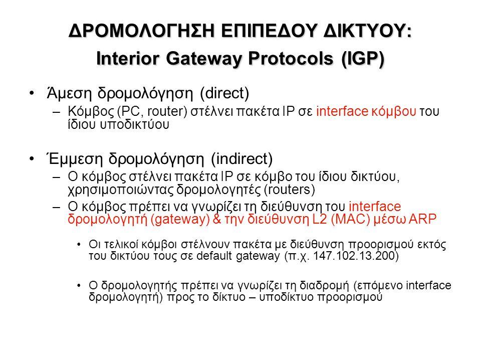 ΔΡΟΜΟΛΟΓΗΣΗ ΕΠΙΠΕΔΟΥ ΔΙΚΤΥΟΥ: Interior Gateway Protocols (IGP)
