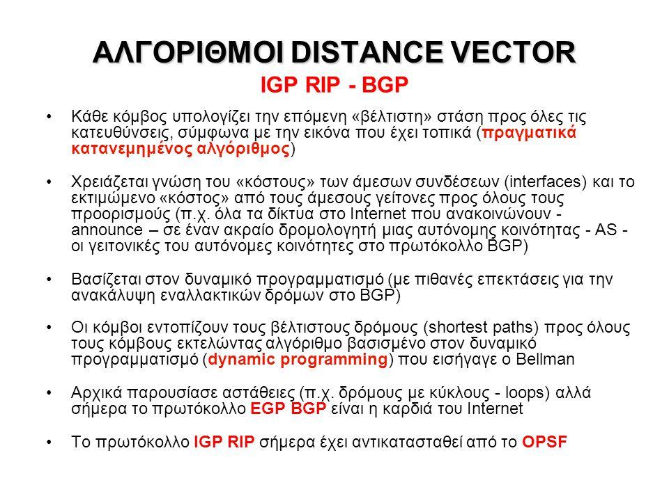 ΑΛΓΟΡΙΘΜΟΙ DISTANCE VECTOR IGP RIP - BGP