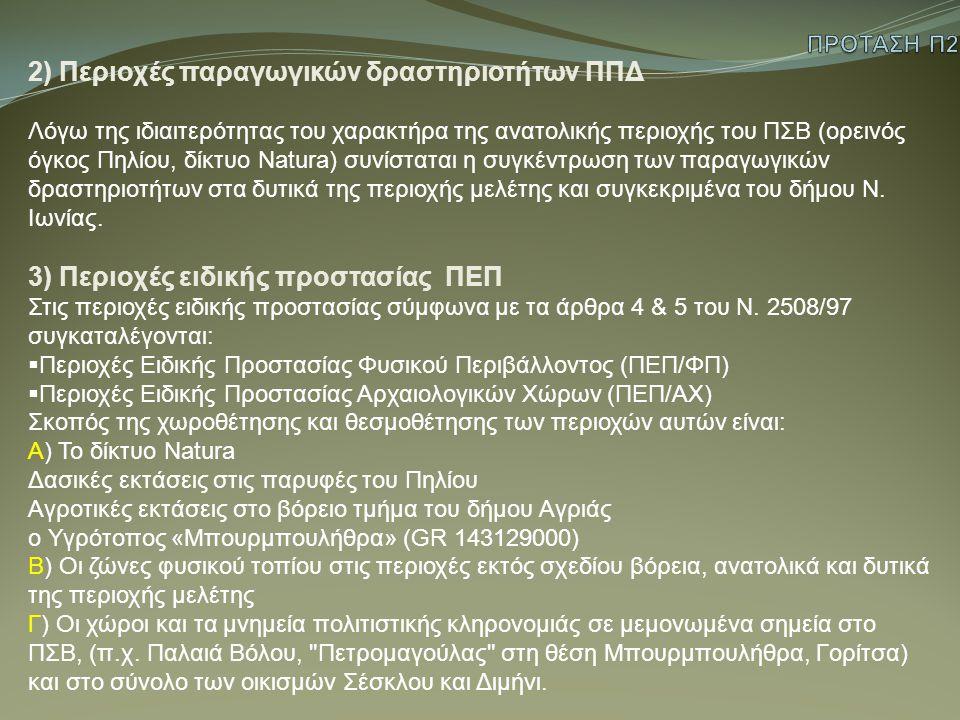 2) Περιοχές παραγωγικών δραστηριοτήτων ΠΠΔ