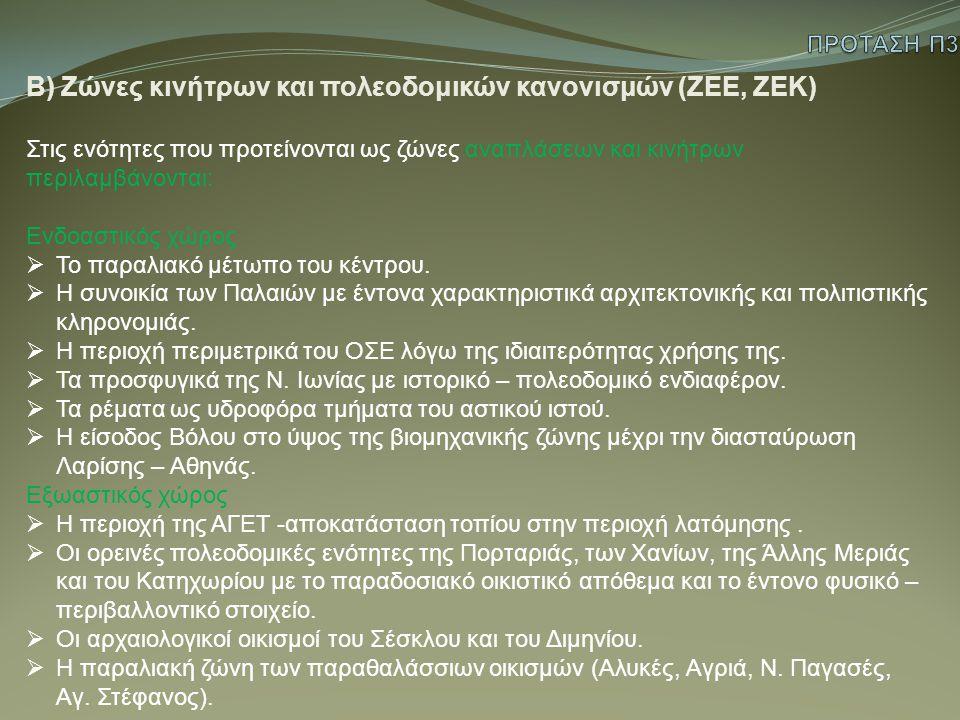 Β) Ζώνες κινήτρων και πολεοδομικών κανονισμών (ΖΕΕ, ΖΕΚ)