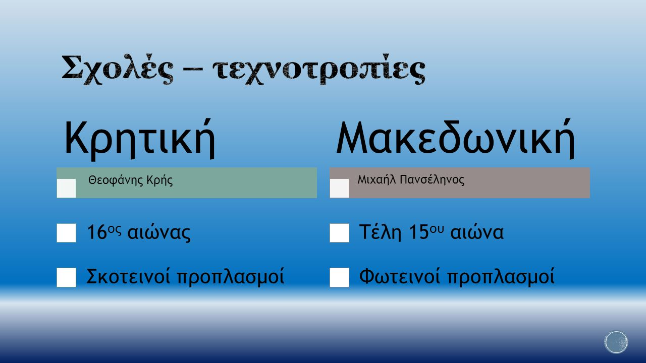 Κρητική Μακεδωνική Σχολές – τεχνοτροπίες 16ος αιώνας