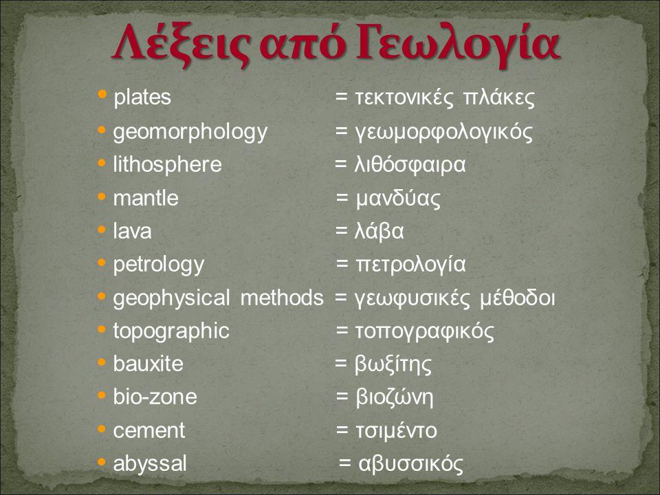 Λέξεις από Γεωλογία • plates = τεκτονικές πλάκες