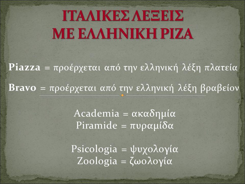 ITAΛΙΚΕΣ ΛΕΞΕΙΣ ΜΕ ΕΛΛΗΝΙΚΗ ΡΙΖΑ